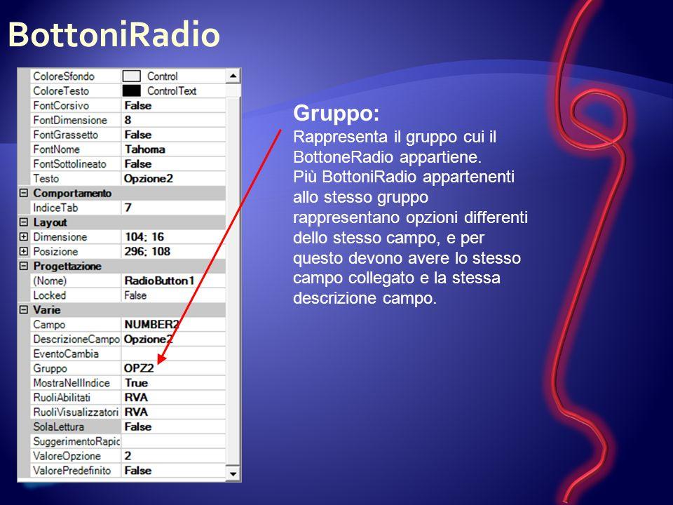 BottoniRadio Gruppo: Rappresenta il gruppo cui il BottoneRadio appartiene.