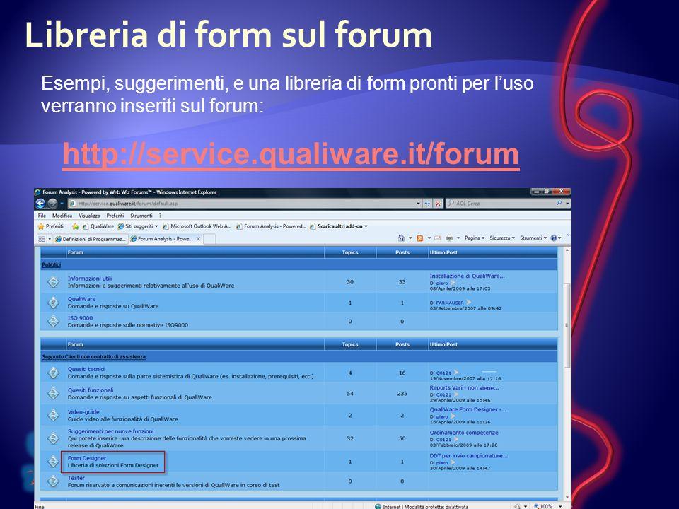 Libreria di form sul forum Esempi, suggerimenti, e una libreria di form pronti per luso verranno inseriti sul forum: http://service.qualiware.it/forum