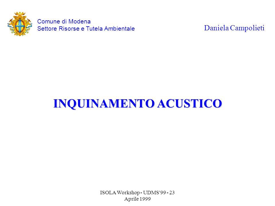 ISOLA Workshop - UDMS'99 - 23 Aprile 1999 INQUINAMENTO ACUSTICO Daniela Campolieti Comune di Modena Settore Risorse e Tutela Ambientale