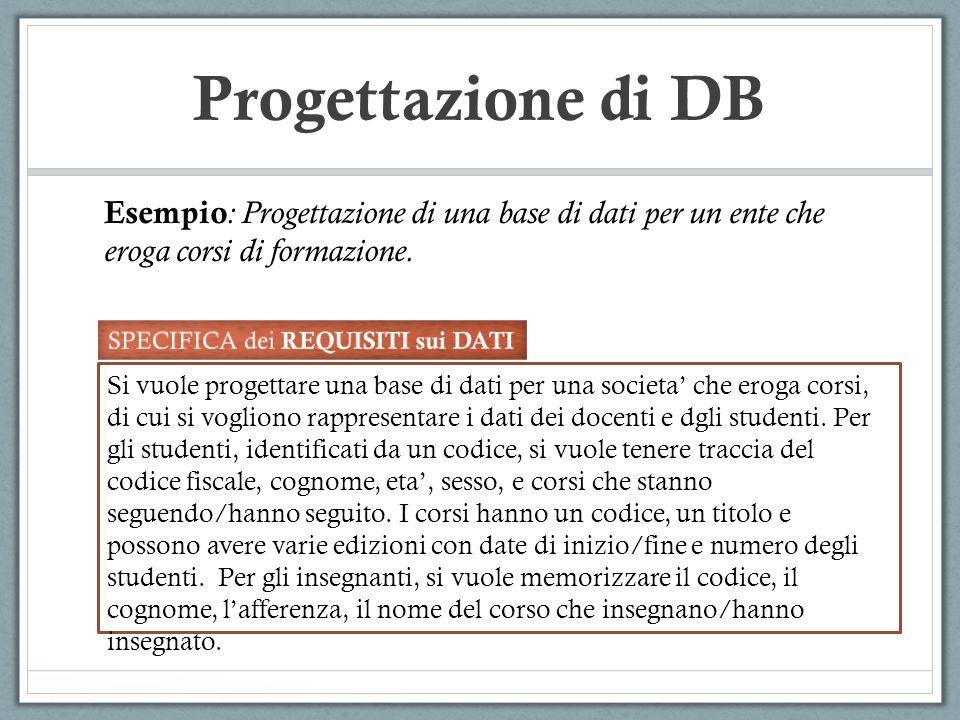 Esempio : Progettazione di una base di dati per un ente che eroga corsi di formazione. Si vuole progettare una base di dati per una societa che eroga