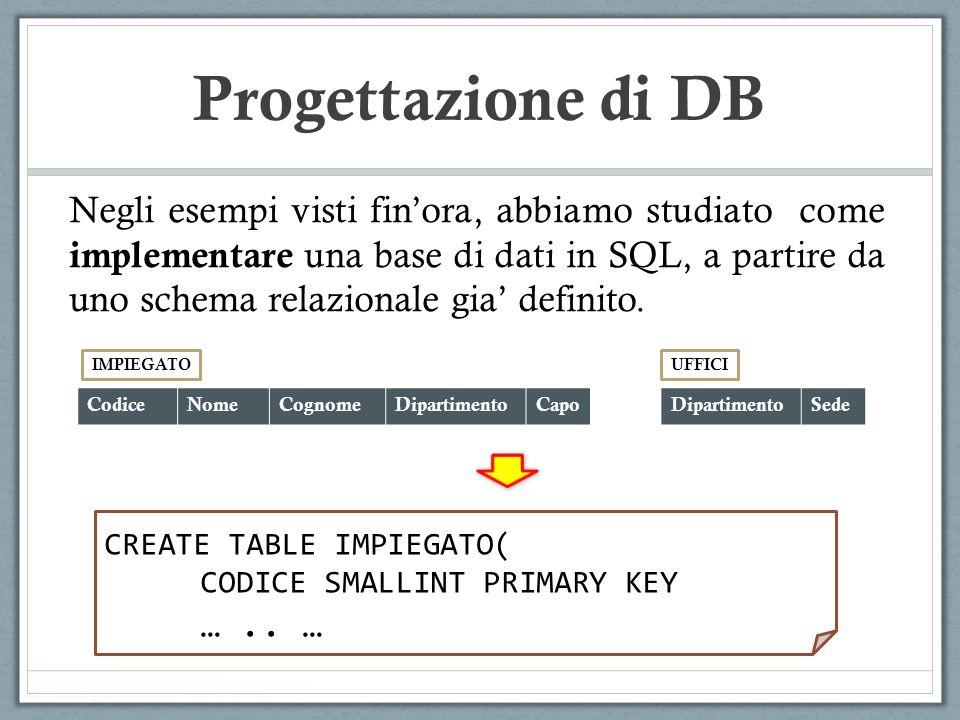 Progettazione di DB Negli esempi visti finora, abbiamo studiato come implementare una base di dati in SQL, a partire da uno schema relazionale gia def