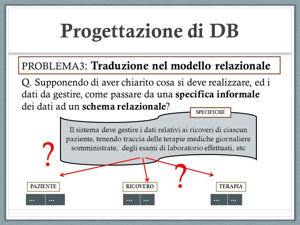 Progettazione di DB PROBLEMA3 : Traduzione nel modello relazionale Q. Supponendo di aver chiarito cosa si deve realizzare, ed i dati da gestire, come