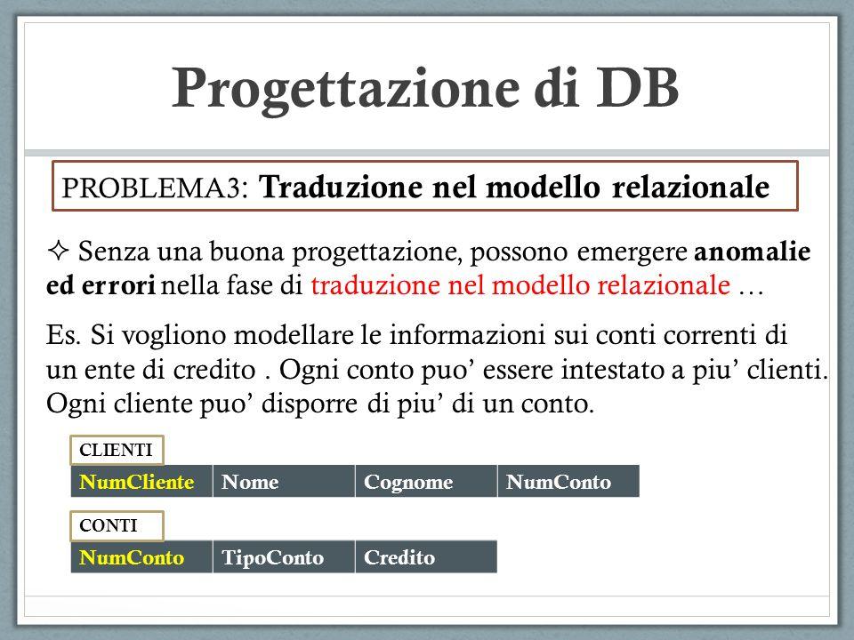 Progettazione di DB PROBLEMA3 : Traduzione nel modello relazionale Senza una buona progettazione, possono emergere anomalie ed errori nella fase di tr