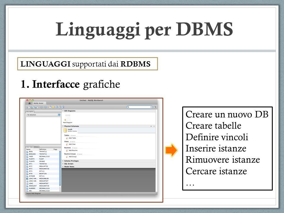 Linguaggi per DBMS LINGUAGGI supportati dai RDBMS 1.