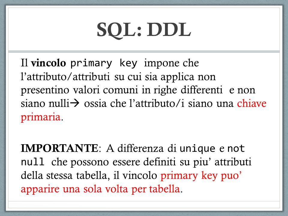 Il vincolo primary key impone che lattributo/attributi su cui sia applica non presentino valori comuni in righe differenti e non siano nulli ossia che lattributo/i siano una chiave primaria.