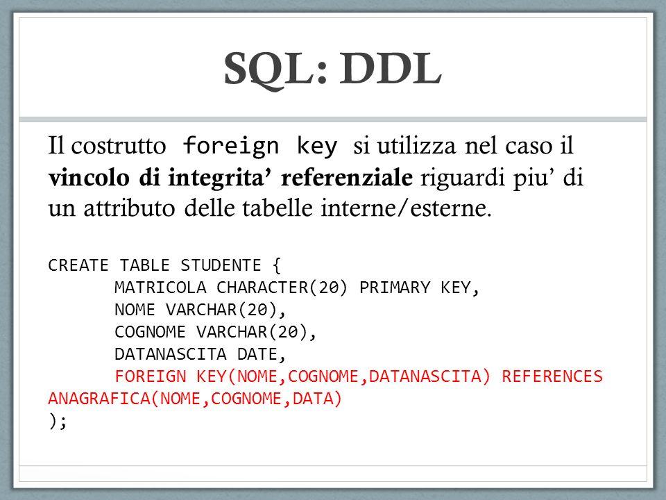 Il costrutto foreign key si utilizza nel caso il vincolo di integrita referenziale riguardi piu di un attributo delle tabelle interne/esterne.