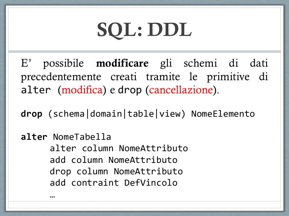 E possibile modificare gli schemi di dati precedentemente creati tramite le primitive di alter (modifica) e drop (cancellazione).