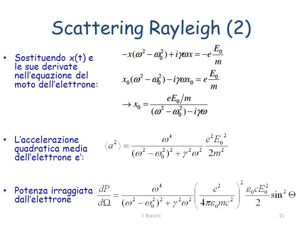 Scattering Rayleigh (2) Sostituendo x(t) e le sue derivate nellequazione del moto dellelettrone: Laccelerazione quadratica media dellelettrone e: Pote