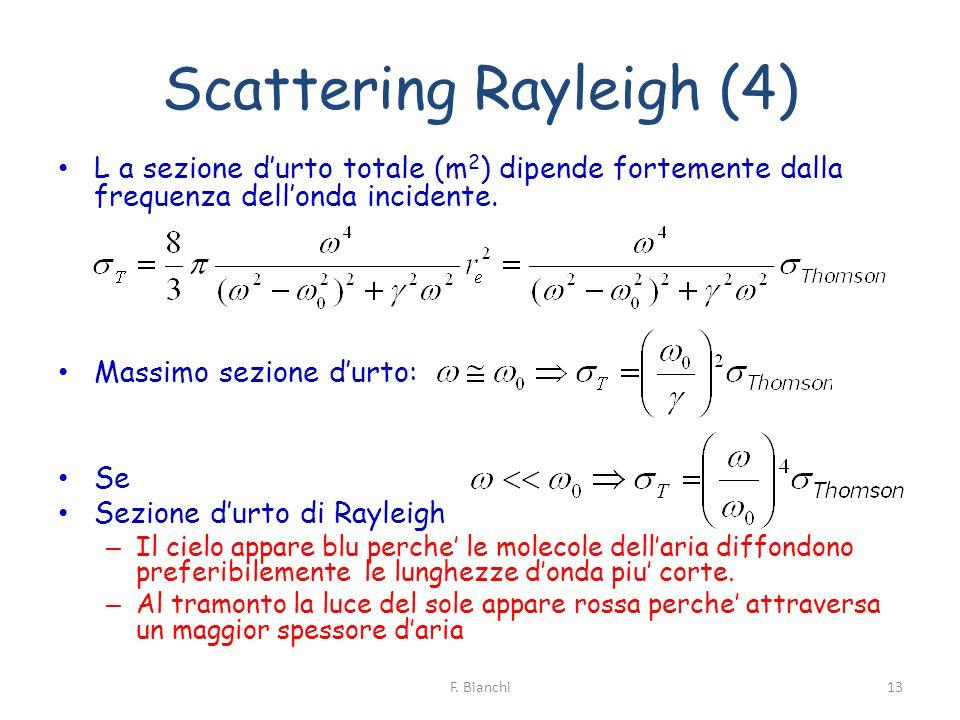 Scattering Rayleigh (4) L a sezione durto totale (m 2 ) dipende fortemente dalla frequenza dellonda incidente. Massimo sezione durto: Se Sezione durto