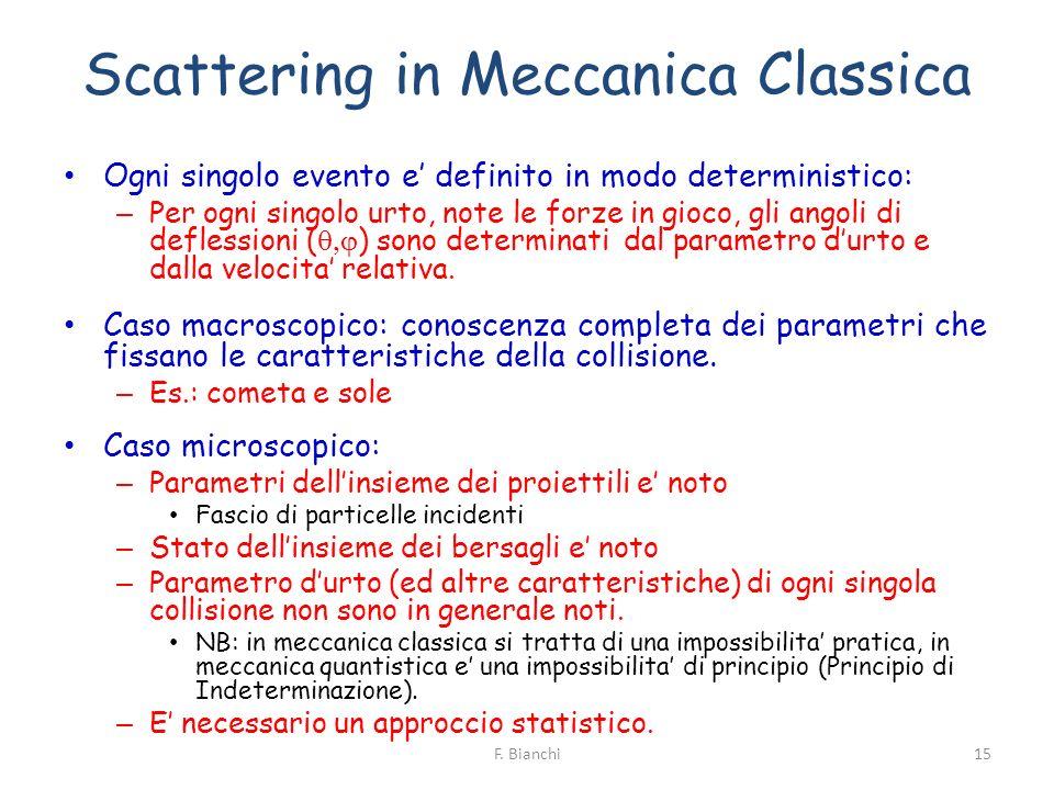 Scattering in Meccanica Classica Ogni singolo evento e definito in modo deterministico: – Per ogni singolo urto, note le forze in gioco, gli angoli di