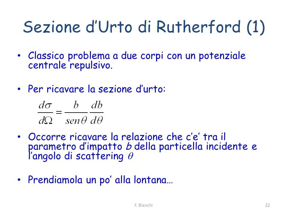 Sezione dUrto di Rutherford (1) Classico problema a due corpi con un potenziale centrale repulsivo. Per ricavare la sezione durto: Occorre ricavare la