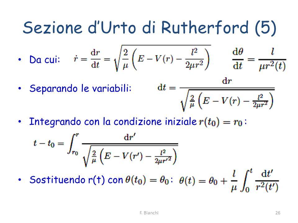 Sezione dUrto di Rutherford (5) Da cui: Separando le variabili: Integrando con la condizione iniziale : Sostituendo r(t) con : 26F. Bianchi