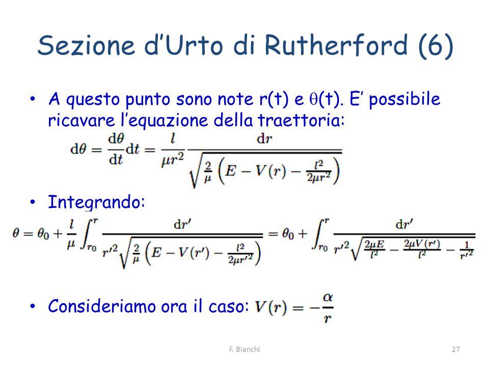 Sezione dUrto di Rutherford (6) A questo punto sono note r(t) e (t). E possibile ricavare lequazione della traettoria: Integrando: Consideriamo ora il
