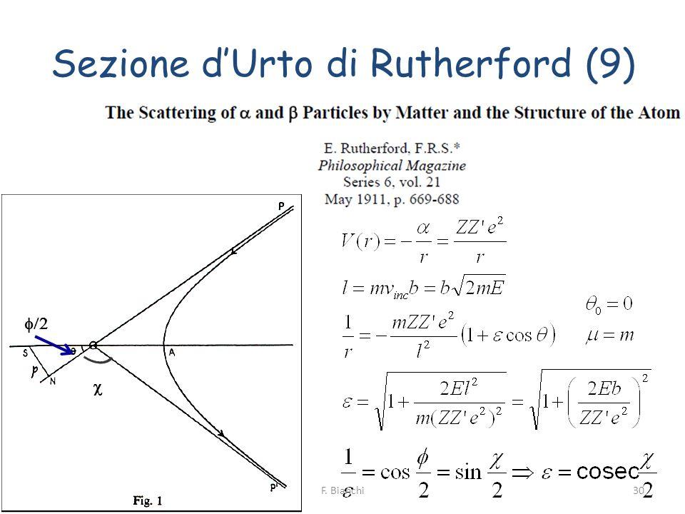 Sezione dUrto di Rutherford (9) 30F. Bianchi