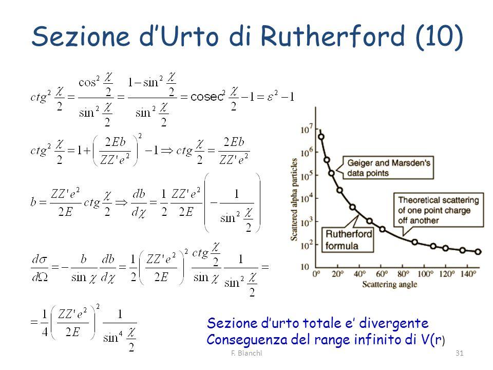 Sezione dUrto di Rutherford (10) Sezione durto totale e divergente Conseguenza del range infinito di V(r ) 31F. Bianchi