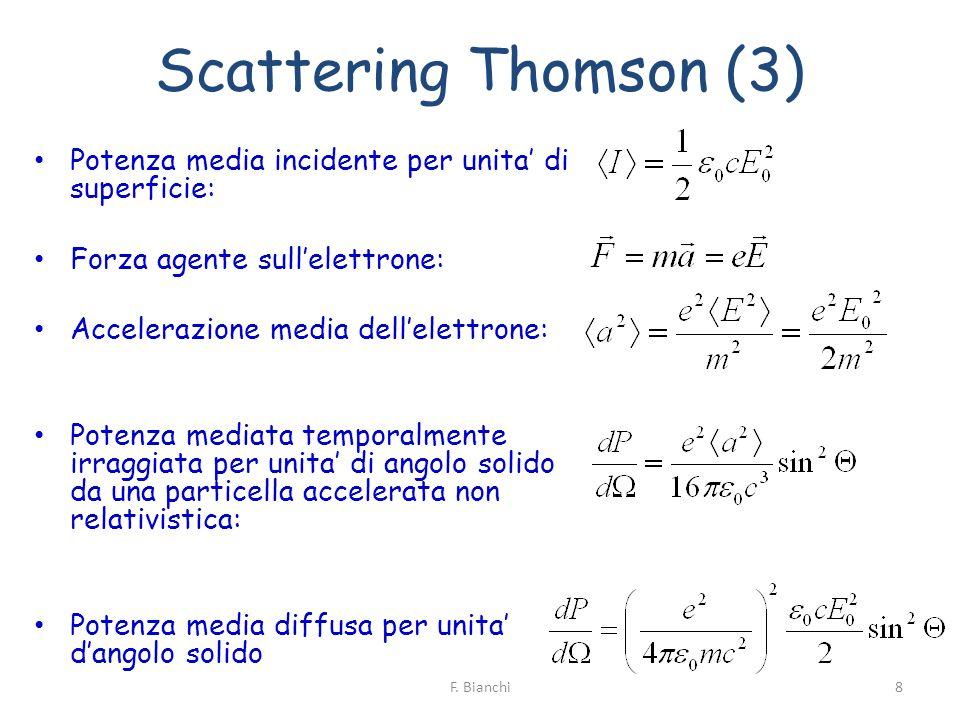 Scattering Thomson (4) Sezione durto (m 2 /sr) Sezione durto totale (m 2 ) Raggio classico dellelettrone T indipendente da frequenza ed ampiezza della radiazione incidente 9F.