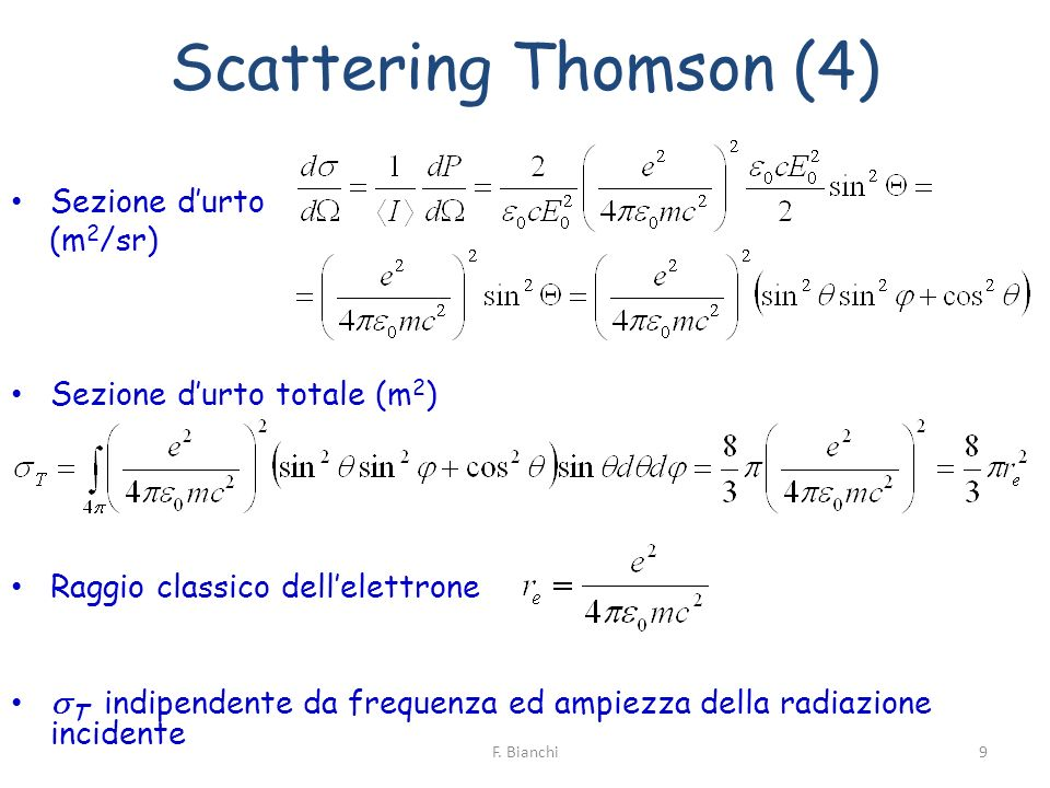 Scattering Thomson (4) Sezione durto (m 2 /sr) Sezione durto totale (m 2 ) Raggio classico dellelettrone T indipendente da frequenza ed ampiezza della
