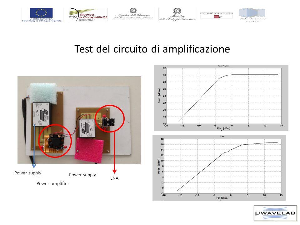 Test del circuito di amplificazione LNA Power amplifier Power supply