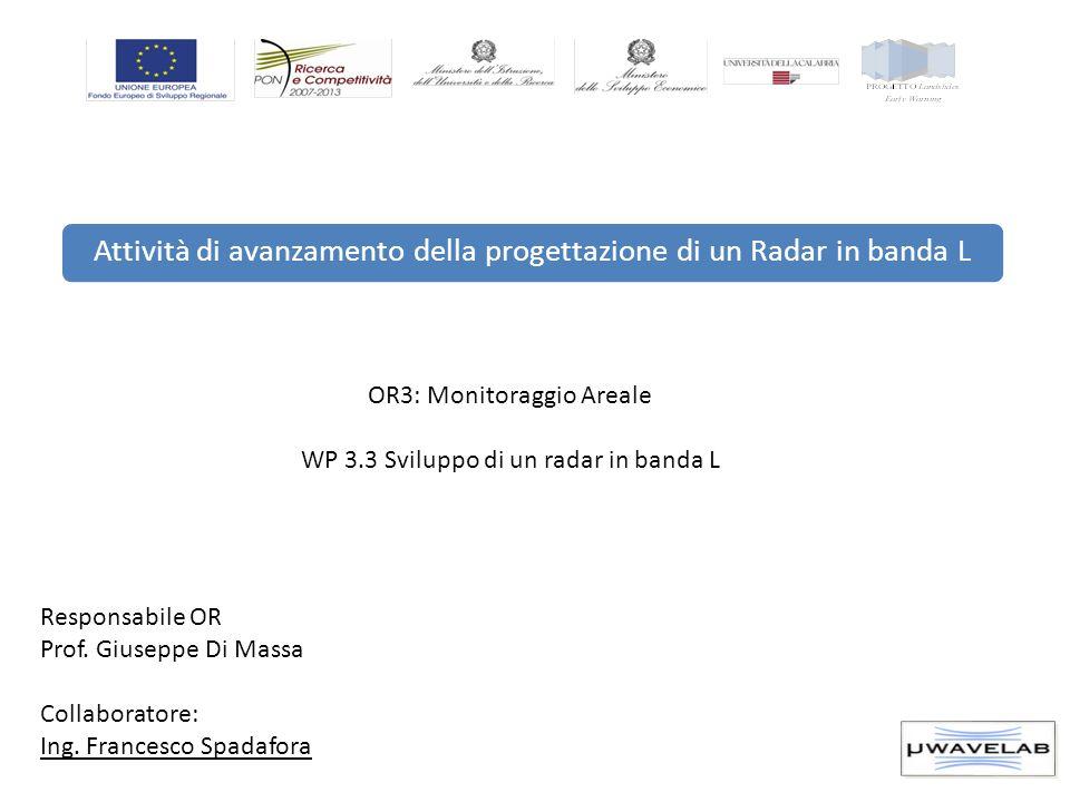 Attività di avanzamento della progettazione di un Radar in banda L OR3: Monitoraggio Areale WP 3.3 Sviluppo di un radar in banda L Responsabile OR Pro