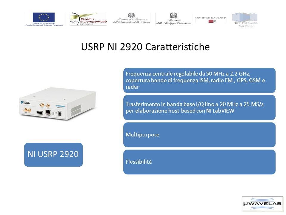 USRP NI 2920 Caratteristiche NI USRP 2920 Frequenza centrale regolabile da 50 MHz a 2.2 GHz, copertura bande di frequenza ISM, radio FM, GPS, GSM e ra
