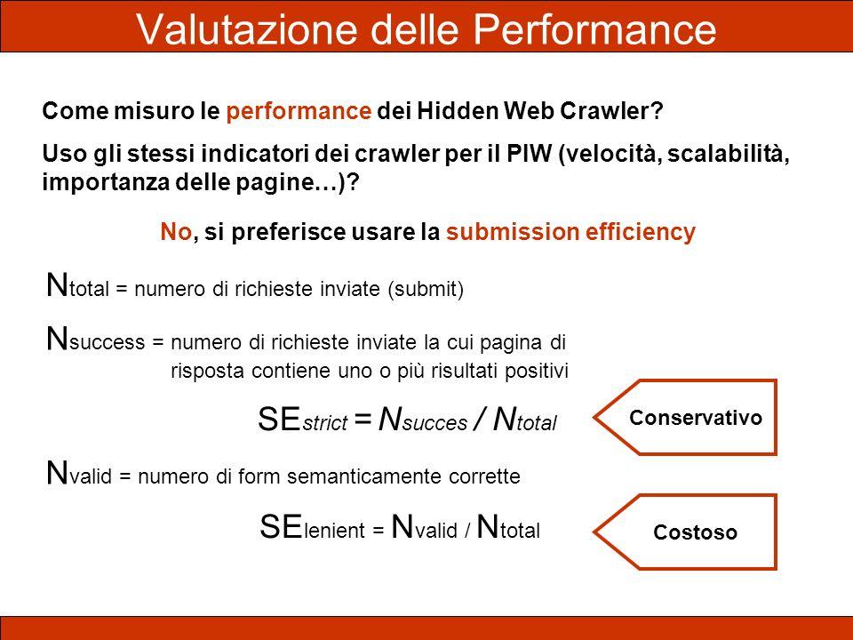 Come misuro le performance dei Hidden Web Crawler? Uso gli stessi indicatori dei crawler per il PIW (velocità, scalabilità, importanza delle pagine…)?