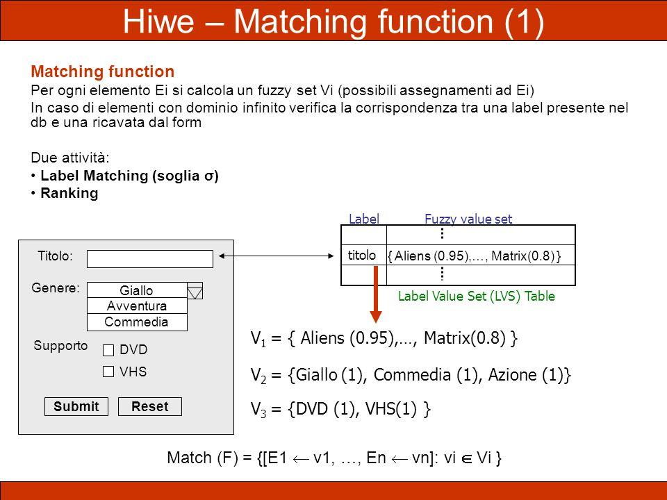 Matching function Per ogni elemento Ei si calcola un fuzzy set Vi (possibili assegnamenti ad Ei) In caso di elementi con dominio infinito verifica la