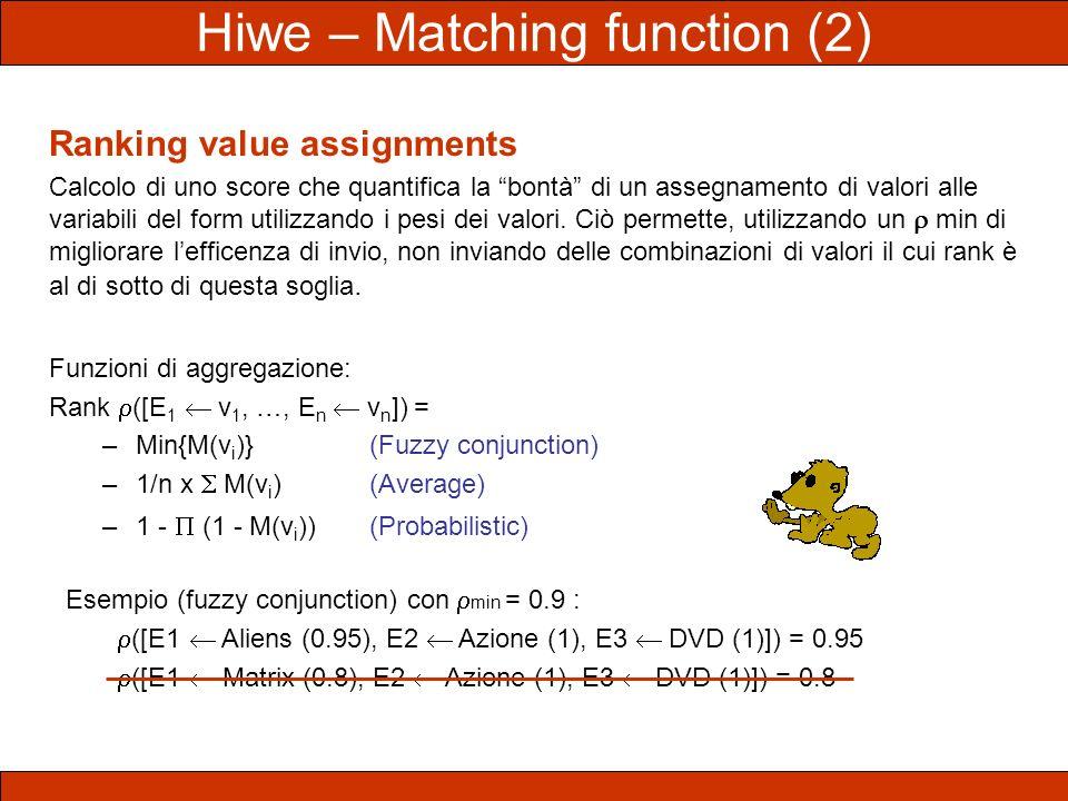 Ranking value assignments Calcolo di uno score che quantifica la bontà di un assegnamento di valori alle variabili del form utilizzando i pesi dei val