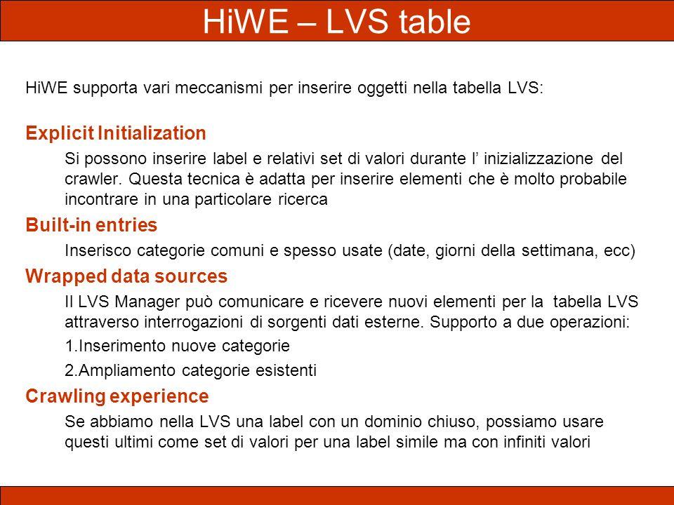 HiWE – LVS table HiWE supporta vari meccanismi per inserire oggetti nella tabella LVS: Explicit Initialization Si possono inserire label e relativi se