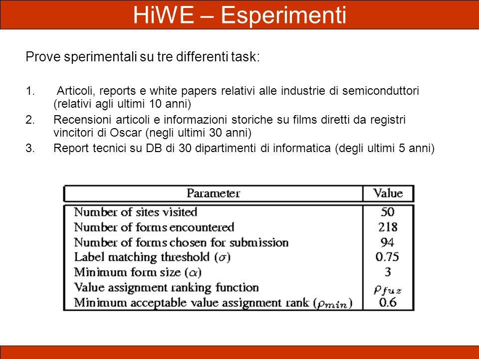 HiWE – Esperimenti Prove sperimentali su tre differenti task: 1. Articoli, reports e white papers relativi alle industrie di semiconduttori (relativi