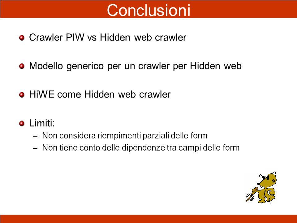 Crawler PIW vs Hidden web crawler Modello generico per un crawler per Hidden web HiWE come Hidden web crawler Limiti: –Non considera riempimenti parzi