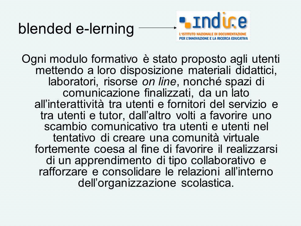blended e-lerning Ogni modulo formativo è stato proposto agli utenti mettendo a loro disposizione materiali didattici, laboratori, risorse on line, no