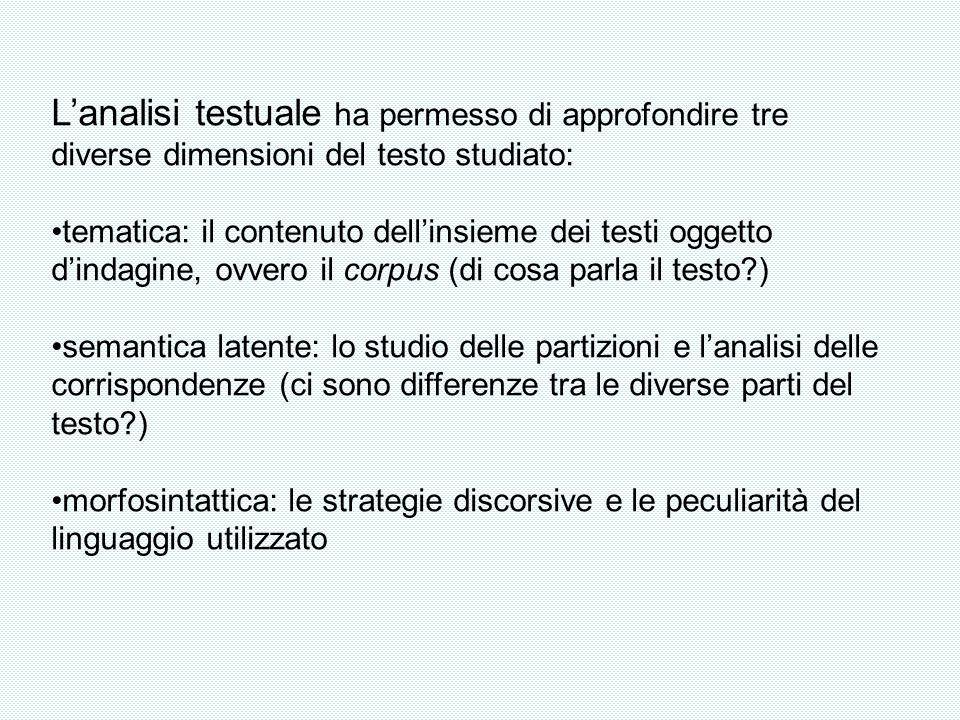 Lanalisi testuale ha permesso di approfondire tre diverse dimensioni del testo studiato: tematica: il contenuto dellinsieme dei testi oggetto dindagin