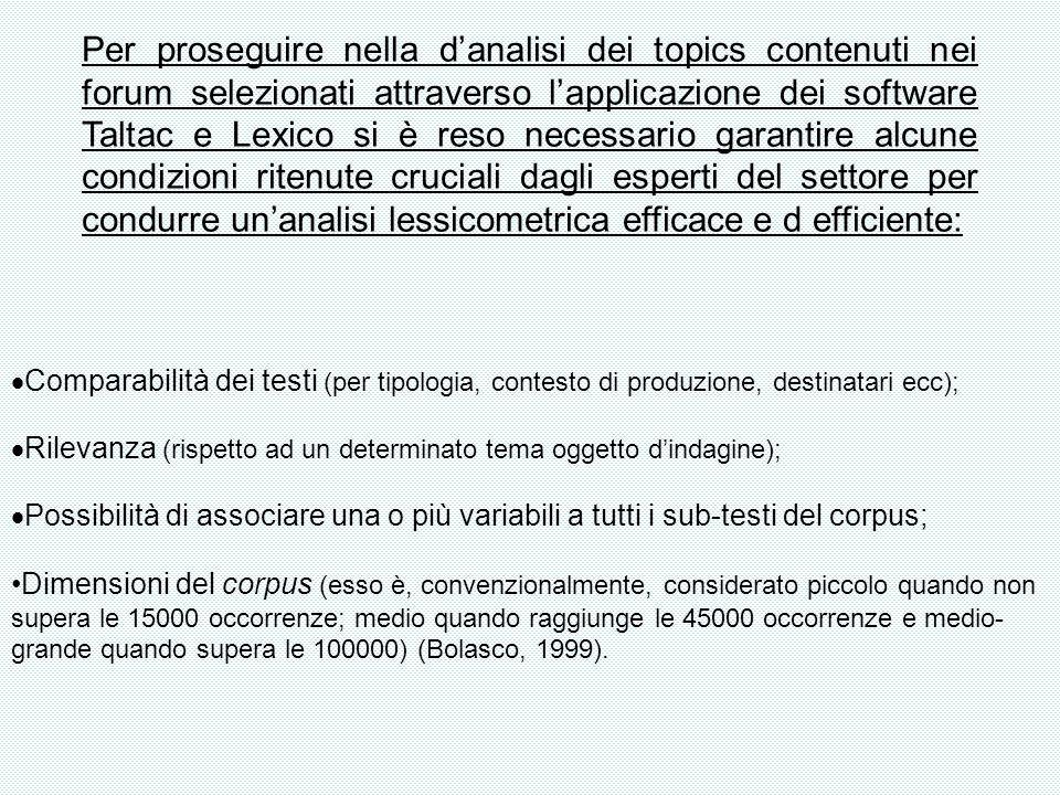Per proseguire nella danalisi dei topics contenuti nei forum selezionati attraverso lapplicazione dei software Taltac e Lexico si è reso necessario ga