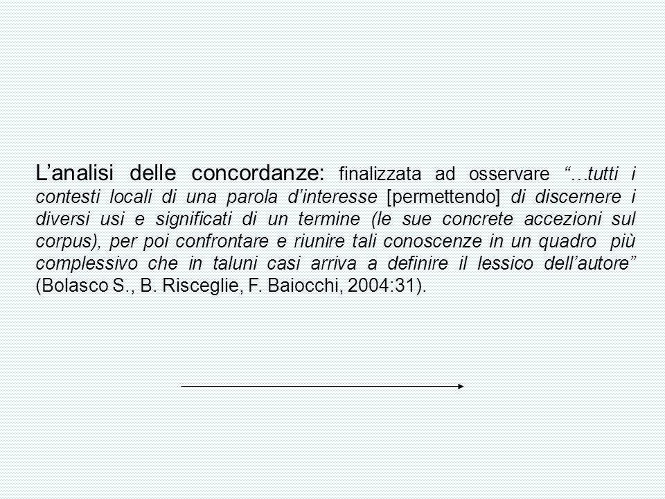 Lanalisi delle concordanze: finalizzata ad osservare …tutti i contesti locali di una parola dinteresse [permettendo] di discernere i diversi usi e sig
