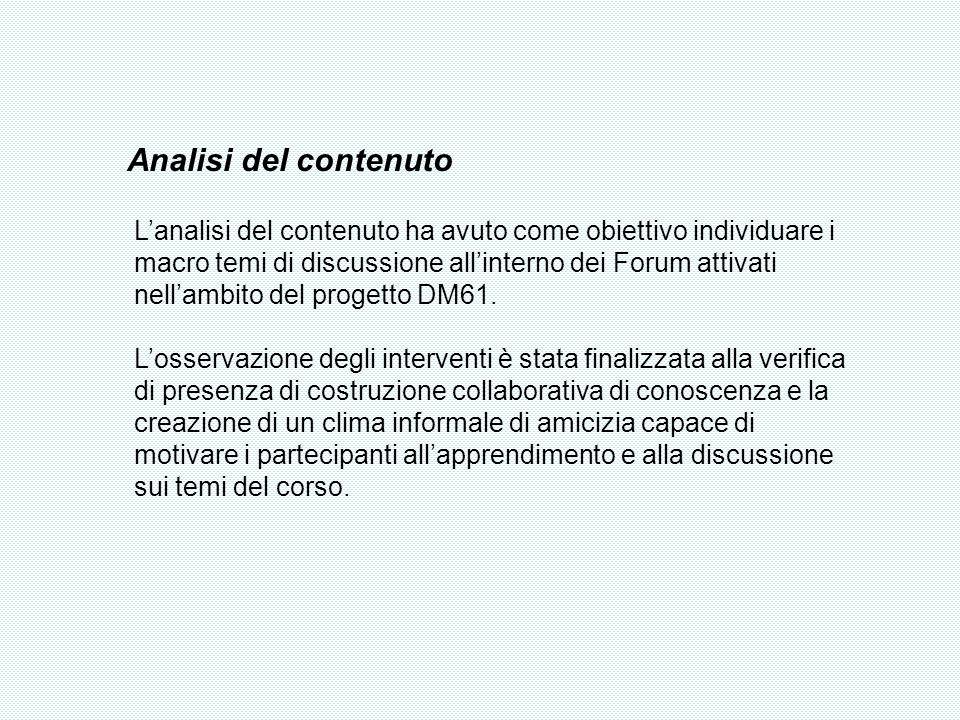 Analisi del contenuto Lanalisi del contenuto ha avuto come obiettivo individuare i macro temi di discussione allinterno dei Forum attivati nellambito del progetto DM61.