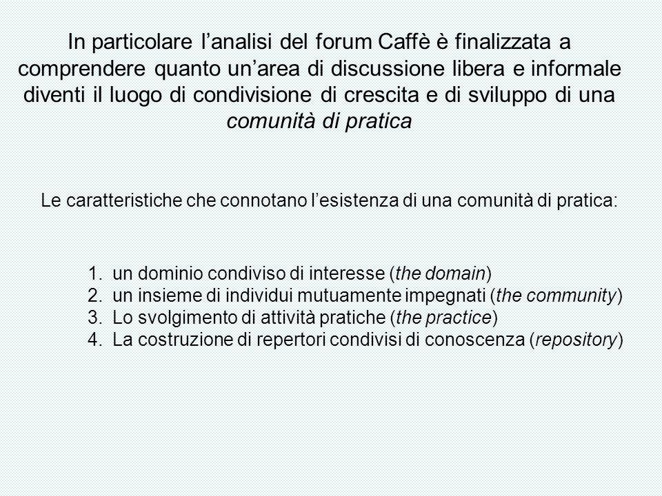 In particolare lanalisi del forum Caffè è finalizzata a comprendere quanto unarea di discussione libera e informale diventi il luogo di condivisione d