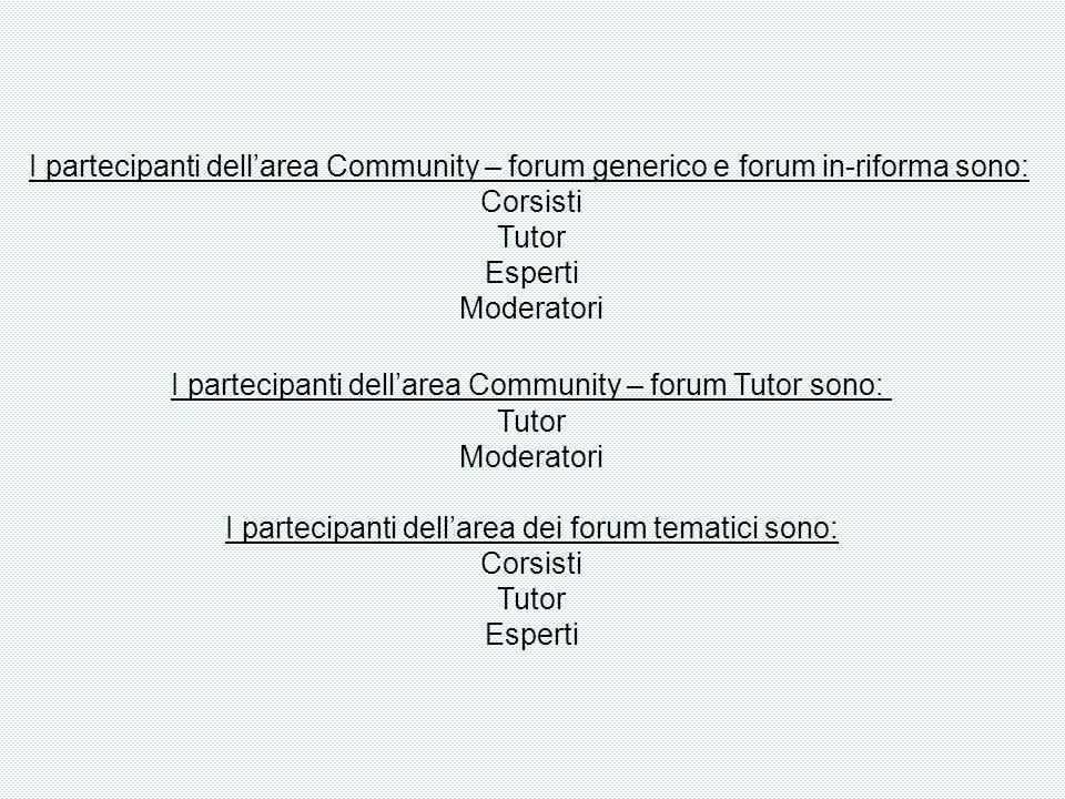 I partecipanti dellarea Community – forum generico e forum in-riforma sono: Corsisti Tutor Esperti Moderatori I partecipanti dellarea Community – foru