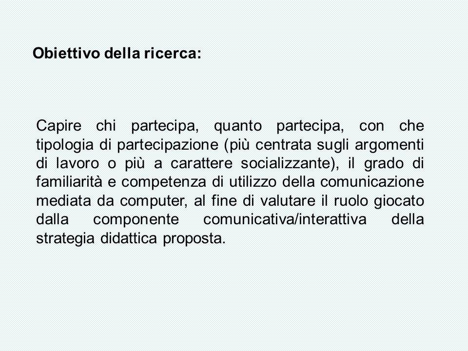 Obiettivo della ricerca: Capire chi partecipa, quanto partecipa, con che tipologia di partecipazione (più centrata sugli argomenti di lavoro o più a c