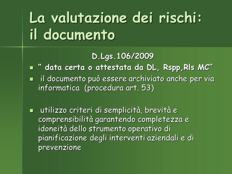 La valutazione dei rischi: il documento D.Lgs.106/2009 data certa o attestata da DL, Rspp,Rls MC data certa o attestata da DL, Rspp,Rls MC il documento può essere archiviato anche per via informatica (procedura art.