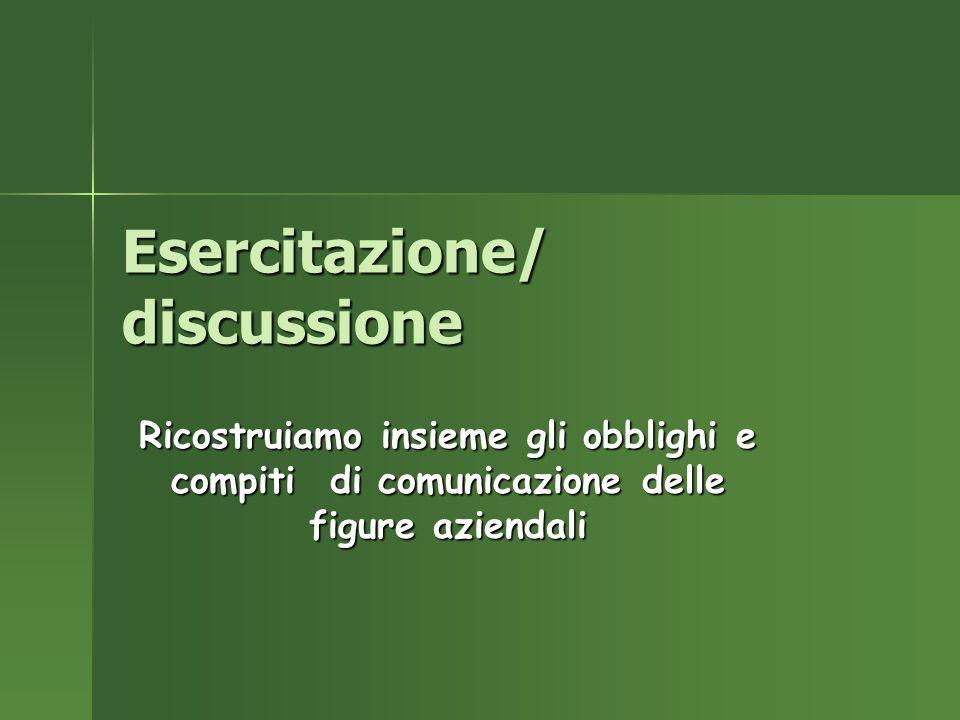 Esercitazione/ discussione Ricostruiamo insieme gli obblighi e compiti di comunicazione delle figure aziendali