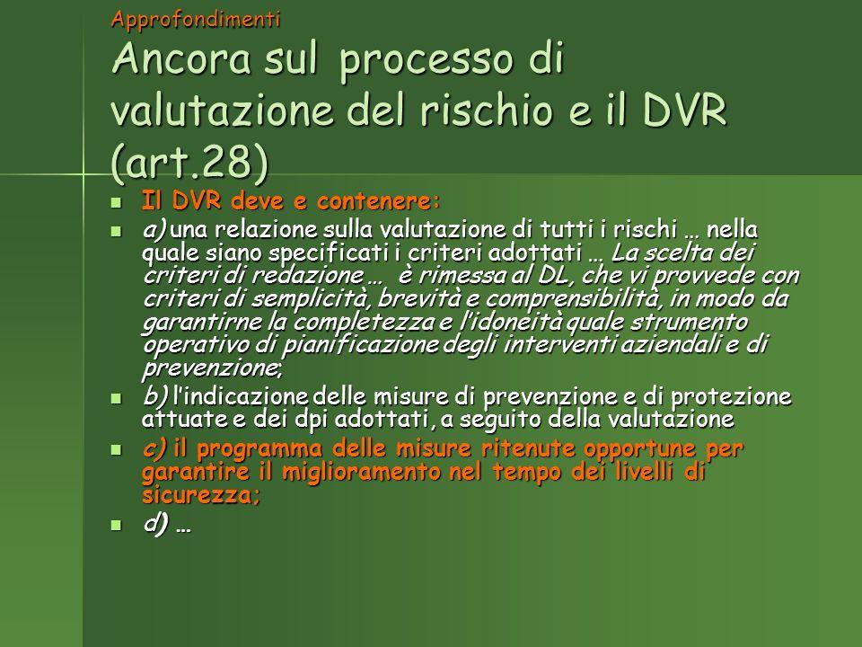 Approfondimenti Ancora sul processo di valutazione del rischio e il DVR (art.28) Il DVR deve e contenere: Il DVR deve e contenere: a) una relazione sulla valutazione di tutti i rischi … nella quale siano specificati i criteri adottati … La scelta dei criteri di redazione … è rimessa al DL, che vi provvede con criteri di semplicità, brevità e comprensibilità, in modo da garantirne la completezza e lidoneità quale strumento operativo di pianificazione degli interventi aziendali e di prevenzione; a) una relazione sulla valutazione di tutti i rischi … nella quale siano specificati i criteri adottati … La scelta dei criteri di redazione … è rimessa al DL, che vi provvede con criteri di semplicità, brevità e comprensibilità, in modo da garantirne la completezza e lidoneità quale strumento operativo di pianificazione degli interventi aziendali e di prevenzione; b) lindicazione delle misure di prevenzione e di protezione attuate e dei dpi adottati, a seguito della valutazione b) lindicazione delle misure di prevenzione e di protezione attuate e dei dpi adottati, a seguito della valutazione c) il programma delle misure ritenute opportune per garantire il miglioramento nel tempo dei livelli di sicurezza; c) il programma delle misure ritenute opportune per garantire il miglioramento nel tempo dei livelli di sicurezza; d) … d) …