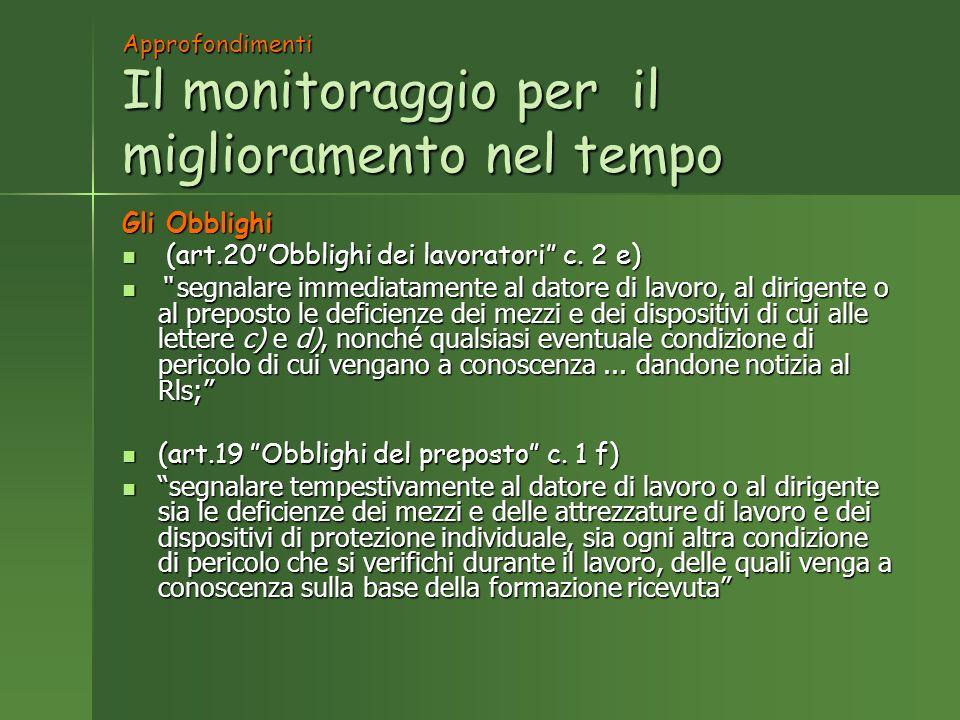 Approfondimenti Il monitoraggio per il miglioramento nel tempo Gli Obblighi (art.20Obblighi dei lavoratori c.