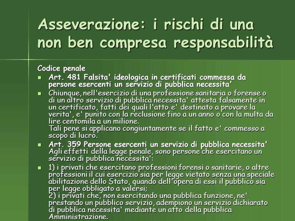 Asseverazione: i rischi di una non ben compresa responsabilità Codice penale Art.