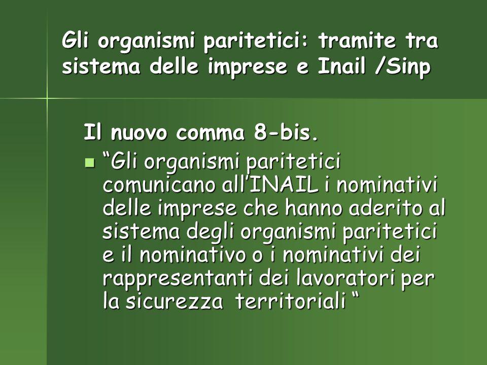 Gli organismi paritetici: tramite tra sistema delle imprese e Inail /Sinp Il nuovo comma 8-bis.