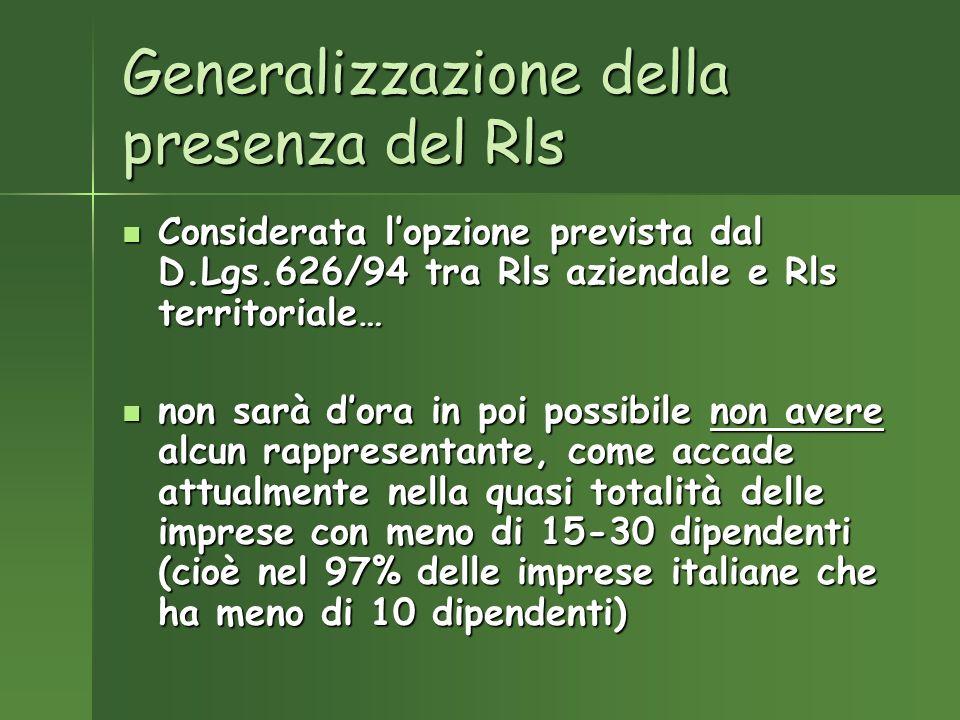 Generalizzazione della presenza del Rls Considerata lopzione prevista dal D.Lgs.626/94 tra Rls aziendale e Rls territoriale… Considerata lopzione prevista dal D.Lgs.626/94 tra Rls aziendale e Rls territoriale… non sarà dora in poi possibile non avere alcun rappresentante, come accade attualmente nella quasi totalità delle imprese con meno di 15-30 dipendenti (cioè nel 97% delle imprese italiane che ha meno di 10 dipendenti) non sarà dora in poi possibile non avere alcun rappresentante, come accade attualmente nella quasi totalità delle imprese con meno di 15-30 dipendenti (cioè nel 97% delle imprese italiane che ha meno di 10 dipendenti)