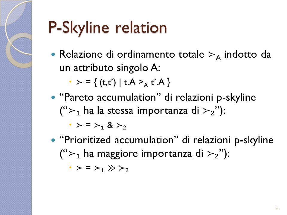 P-Skyline relation Relazione di ordinamento totale A indotto da un attributo singolo A: = { (t,t) | t.A > A t.A } Pareto accumulation di relazioni p-skyline ( ha la stessa importanza di ): = & Prioritized accumulation di relazioni p-skyline ( ha maggiore importanza di ): = 6