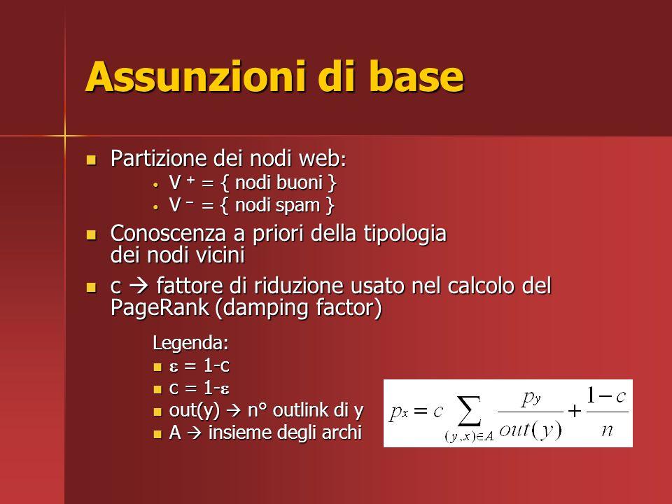 Assunzioni di base Partizione dei nodi web : Partizione dei nodi web : V + = { nodi buoni } V + = { nodi buoni } V – = { nodi spam } V – = { nodi spam } Conoscenza a priori della tipologia dei nodi vicini Conoscenza a priori della tipologia dei nodi vicini c fattore di riduzione usato nel calcolo del PageRank (damping factor) c fattore di riduzione usato nel calcolo del PageRank (damping factor)Legenda: = 1-c = 1-c c = 1- c = 1- out(y) n° outlink di y out(y) n° outlink di y A insieme degli archi A insieme degli archi