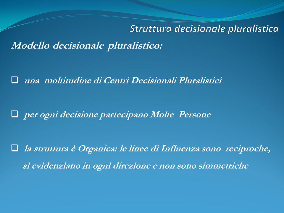Modello decisionale pluralistico: una moltitudine di Centri Decisionali Pluralistici per ogni decisione partecipano Molte Persone la struttura è Organica: le linee di Influenza sono reciproche, si evidenziano in ogni direzione e non sono simmetriche