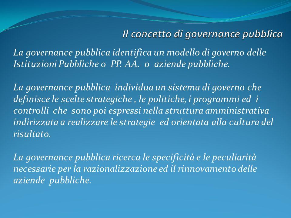 La governance pubblica identifica un modello di governo delle Istituzioni Pubbliche o PP.