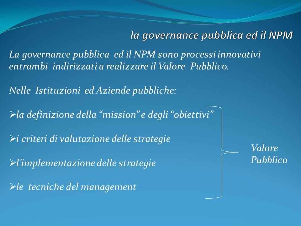 La governance pubblica ed il NPM sono processi innovativi entrambi indirizzati a realizzare il Valore Pubblico.